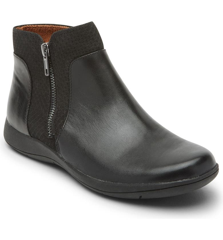 ROCKPORT Tessie Zip Bootie - Wide Width Available, Main, color, BLACK