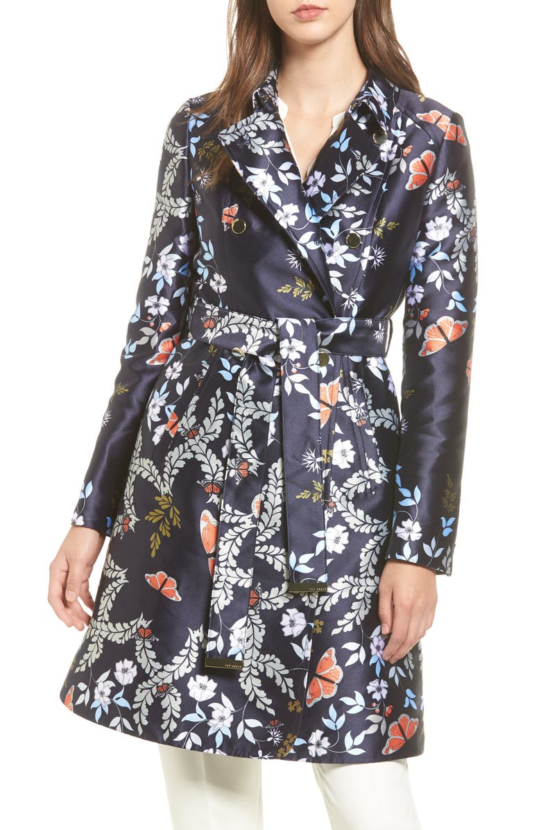 TED BAKER LONDON Kyoto Gardens Double Breasted Coat, Main, color, 424
