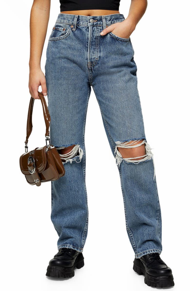 TOPSHOP Double Ripped Knee Nonstretch Dad Jeans, Main, color, MID DENIM