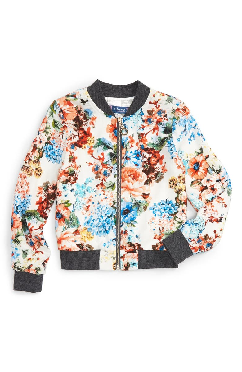 TRULY ME Floral Print Bomber Jacket, Main, color, 904