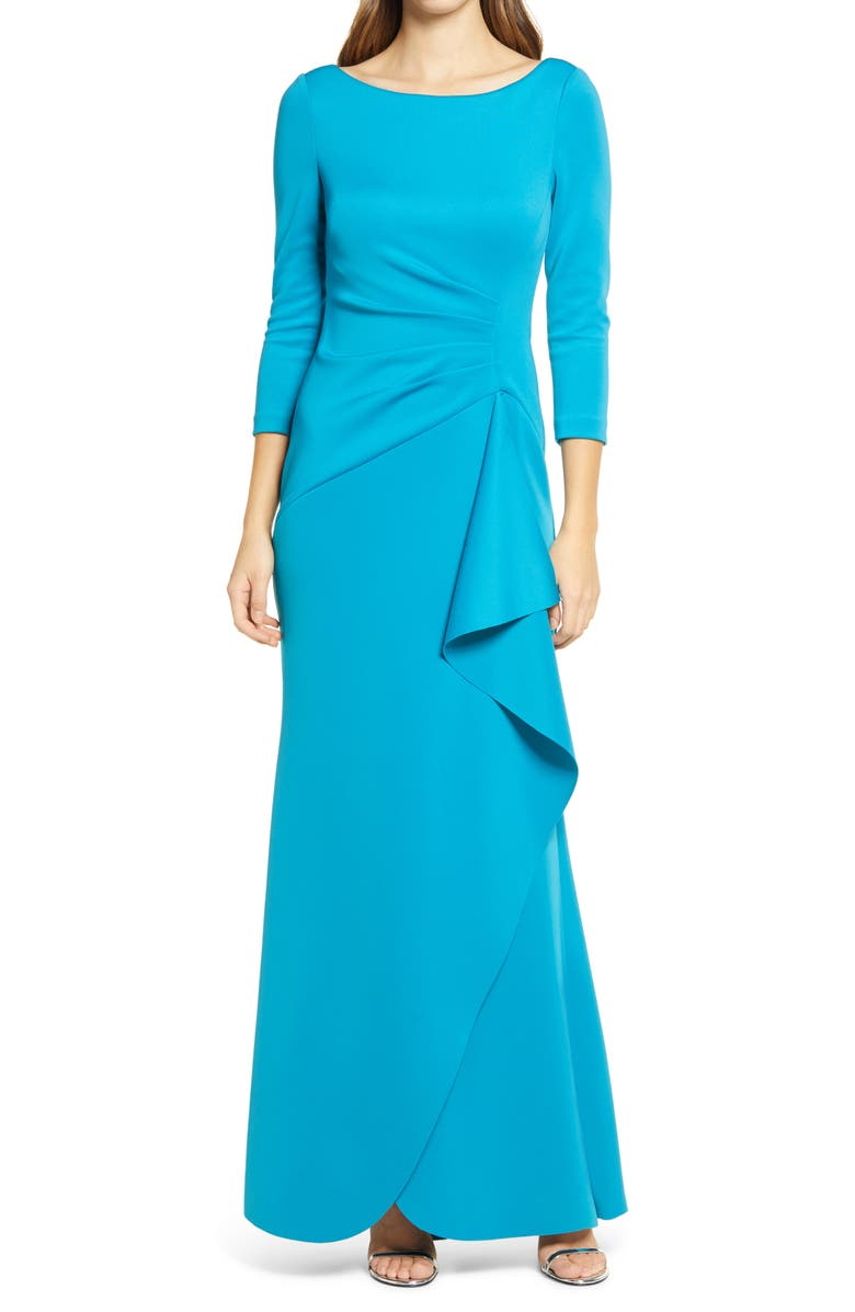 ELIZA J Techno Pleated Scuba Trumpet Gown, Main, color, OCEAN
