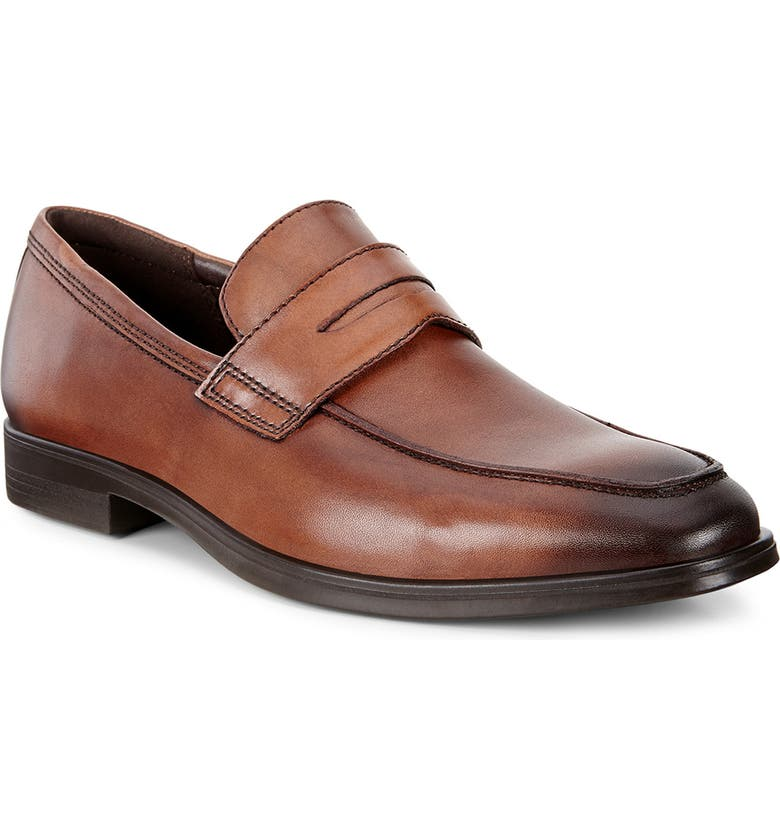ECCO Melbourne Penny Loafer, Main, color, AMBER LEATHER