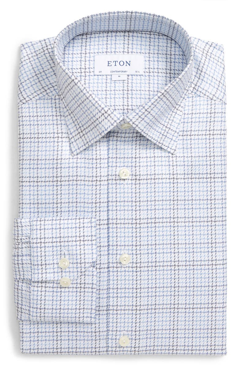 ETON Contemporary Fit Tattersall Dress Shirt, Main, color, 400