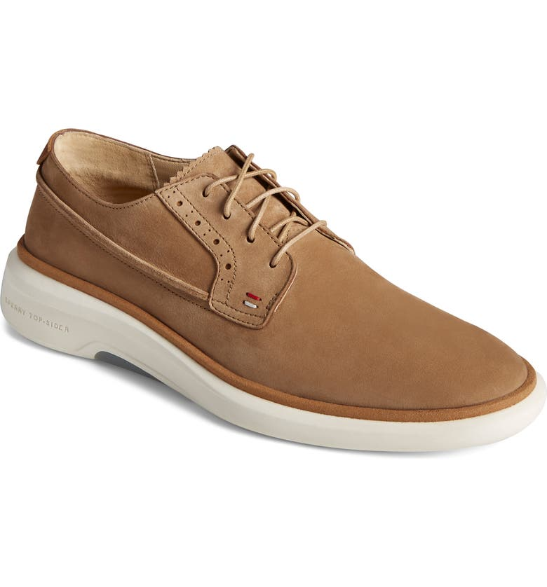 SPERRY Gold Cup Commodore Plushwave Plain Toe Derby, Main, color, TAN NUBUCK