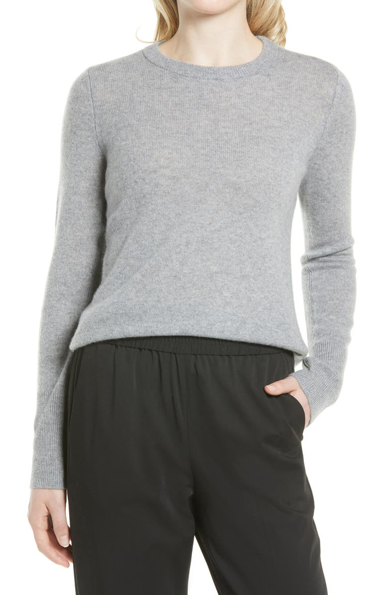 NORDSTROM Cashmere Sweater, Main, color, GREY HEATHER