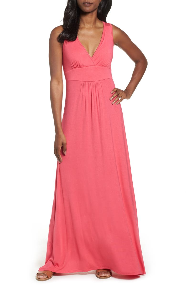 LOVEAPPELLA V-Neck Jersey Maxi Dress, Main, color, PINK POLISH