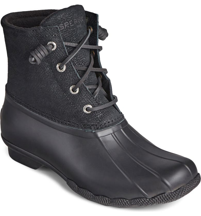 SPERRY Saltwater Duck Boot, Main, color, BLACK SERPENT LEATHER