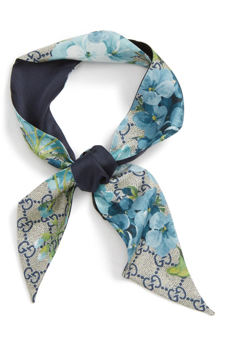 GUCCI GG Blooms Skinny Scarf, Main, color, 4069 MID.NIGHT BL/ SKY BLU