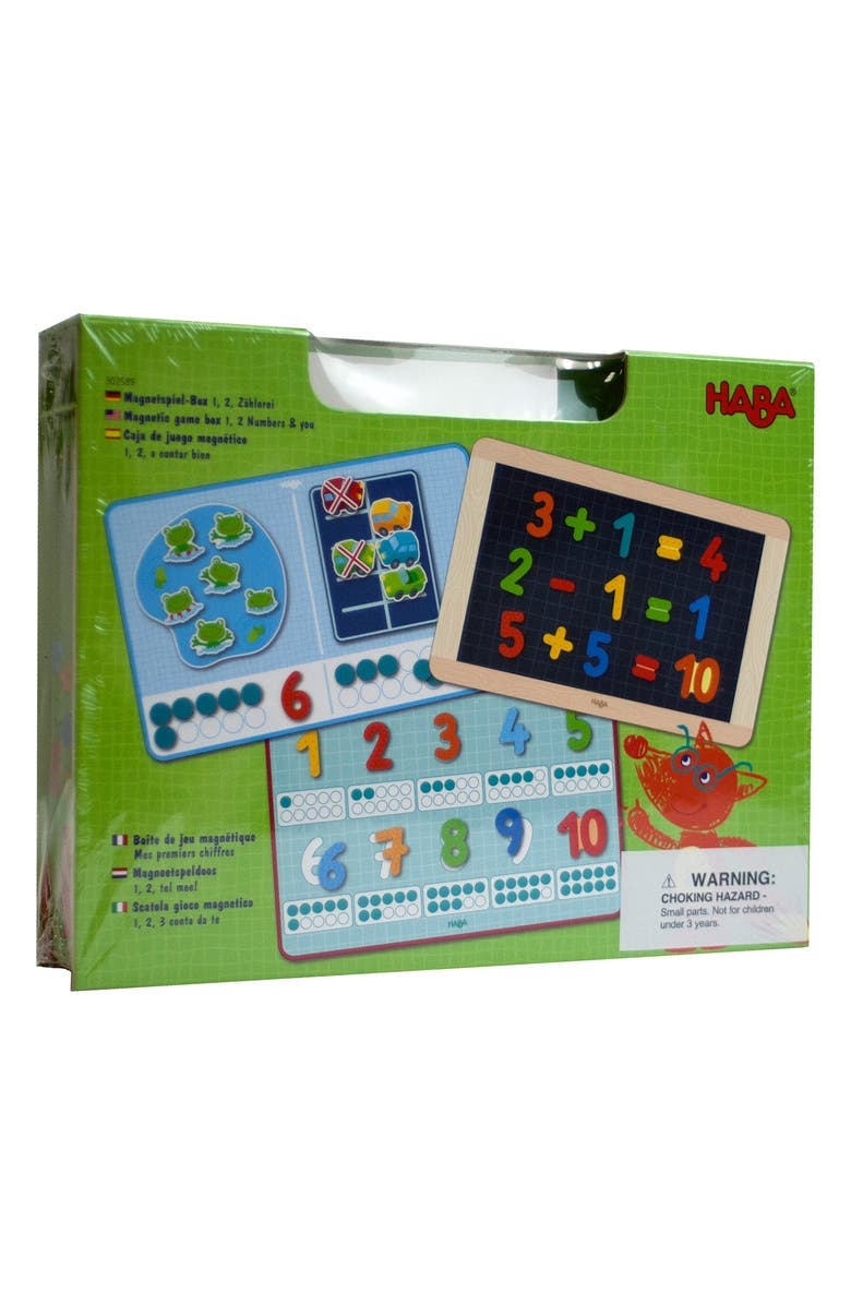 HABA Magnetic 1, 2 Number Math Game Box, Main, color, Green