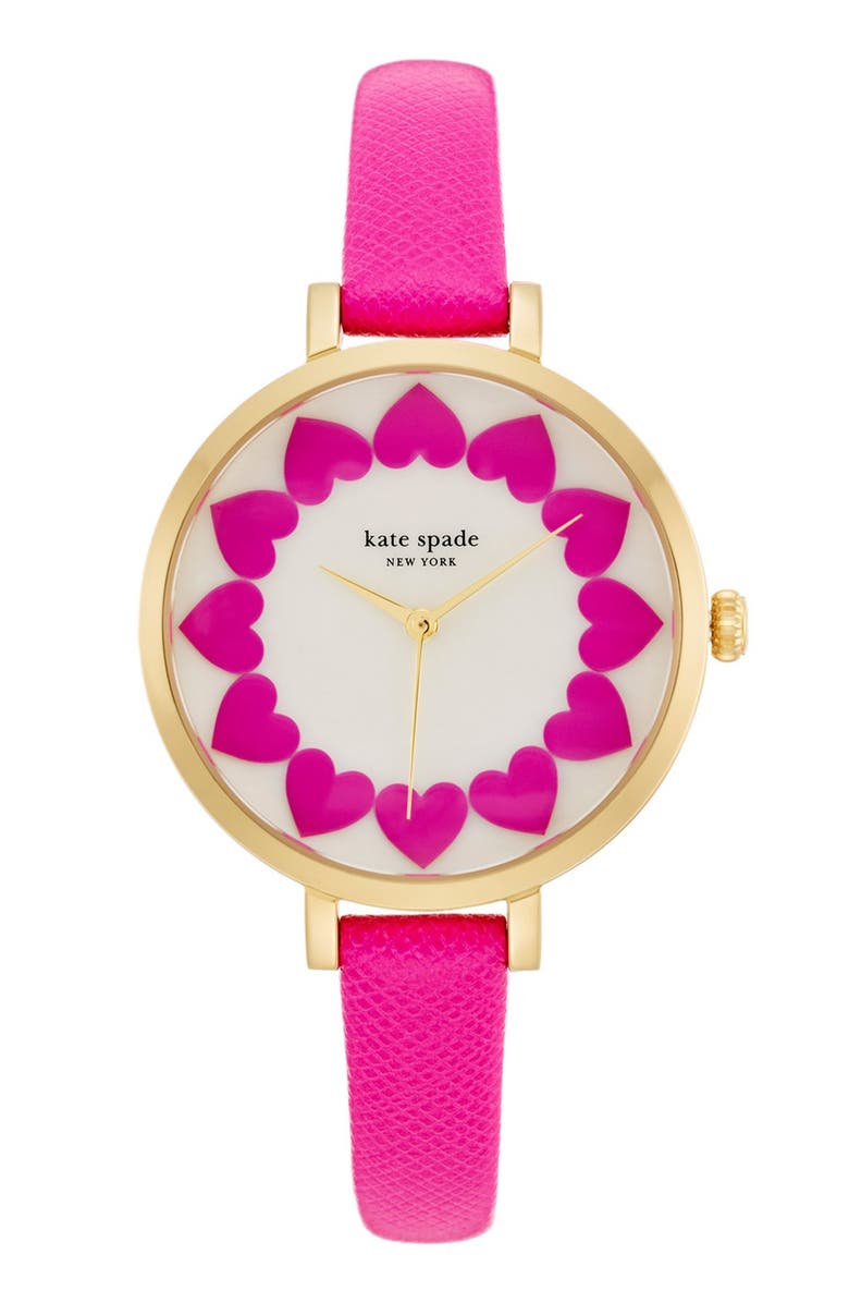 KATE SPADE NEW YORK 'metro' heart dial leather strap watch, 34mm, Main, color, 650