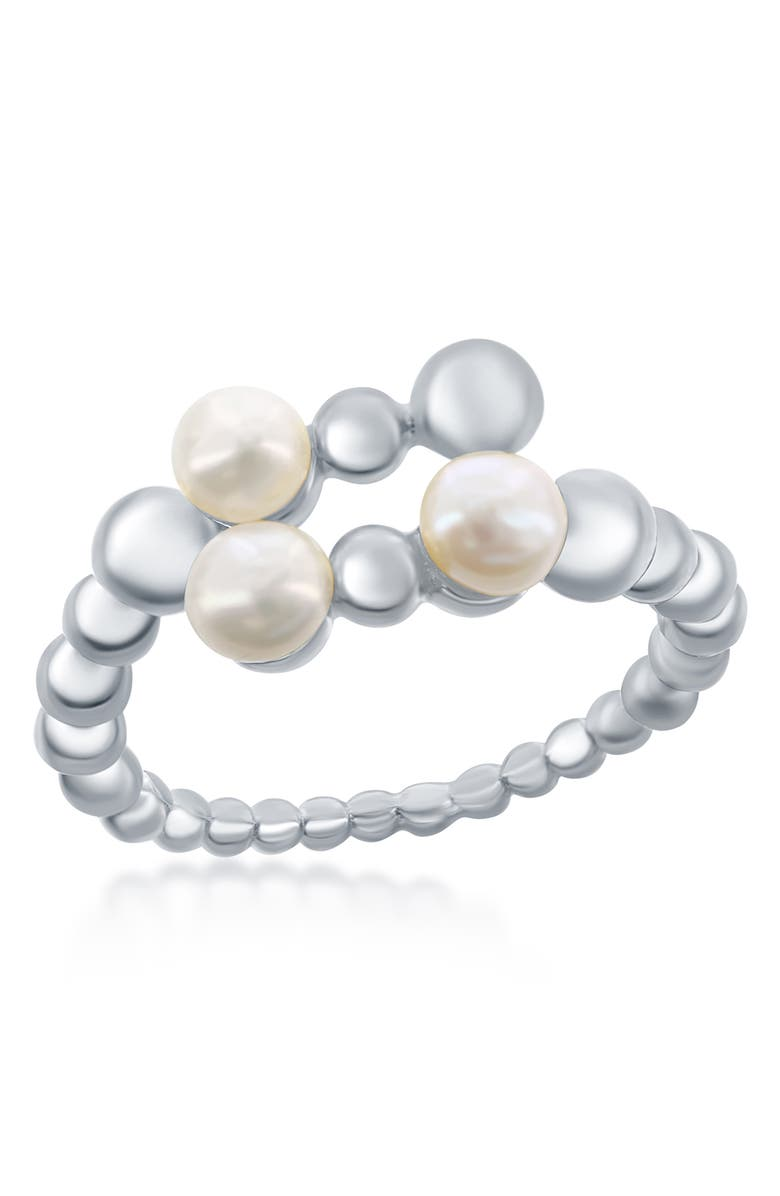 SIMONA Freshwater Pearl Beaded Bypass Ring, Main, color, SILVER