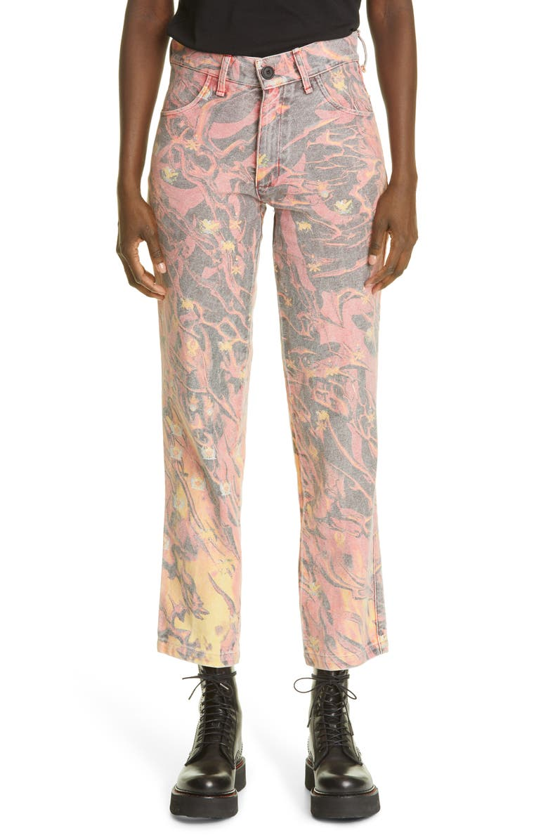 LIBERAL YOUTH MINISTRY Unisex Fire Print Jeans, Main, color, FIRE PRINT / ORANGE - YELLOW