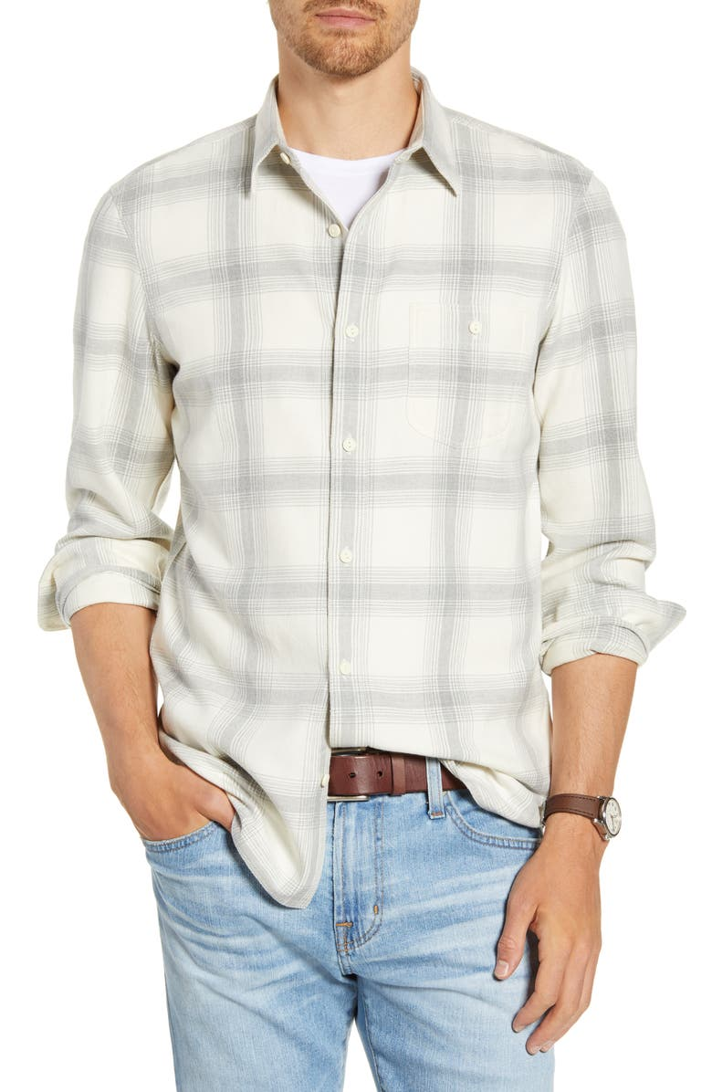 1901 Trim Fit Plaid Twill Button-Up Utility Shirt, Main, color, 100