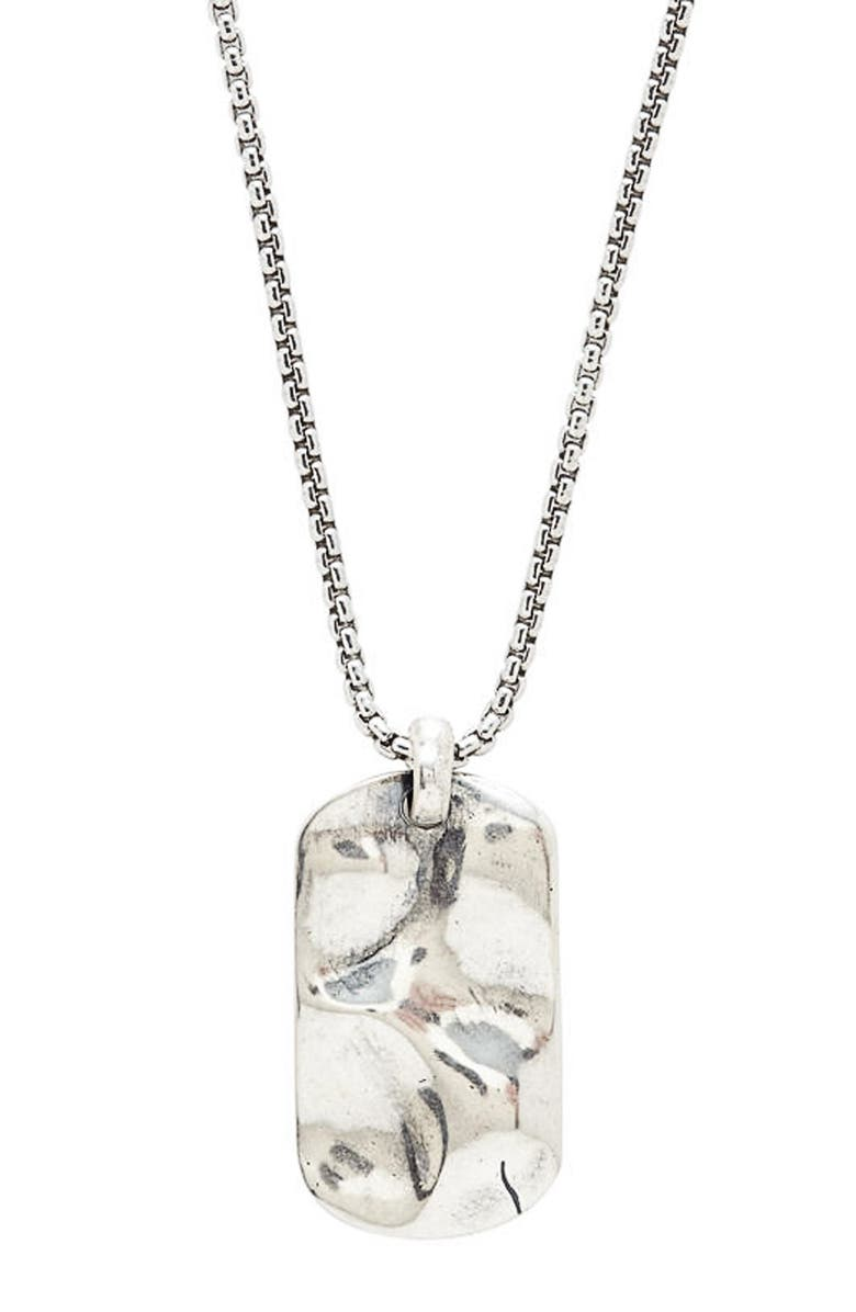 DEGS & SAL Hammered Dog Tag Necklace, Main, color, 040