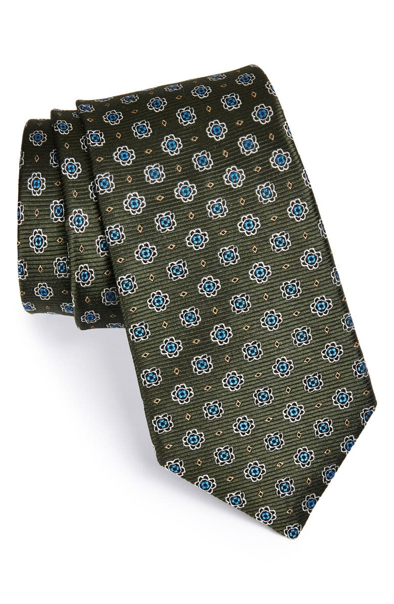 NORDSTROM Woven Silk Tie, Main, color, OLIVE