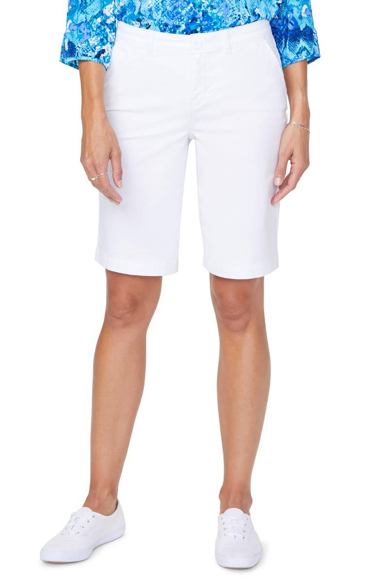 NYDJ Stretch Cotton Blend Twill Bermuda Shorts, Main, color, OPTIC WHITE