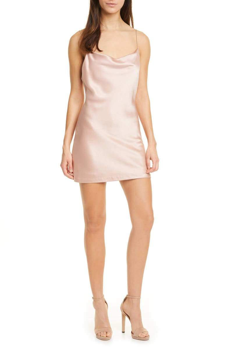 ALICE + OLIVIA Harmony Cowl Neck Satin Minidress, Main, color, 650