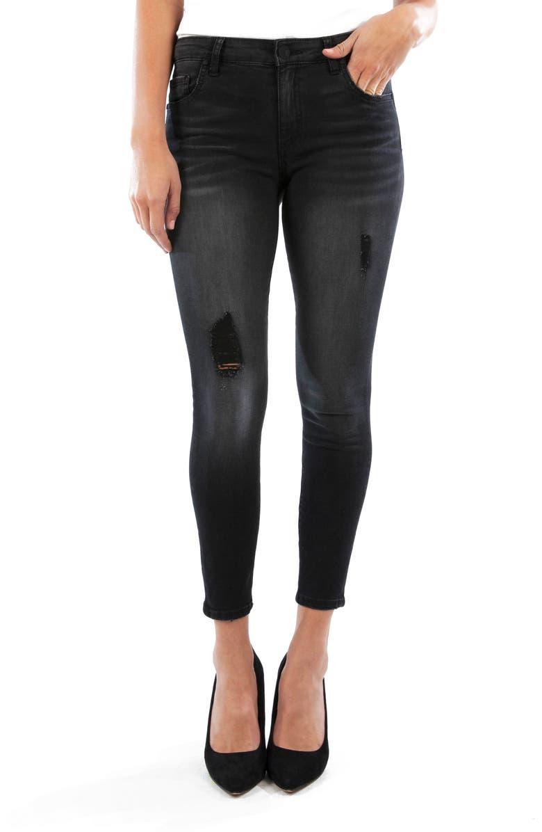 KUT FROM THE KLOTH Connie Ripped High Waist Ankle Skinny Jeans, Main, color, 002