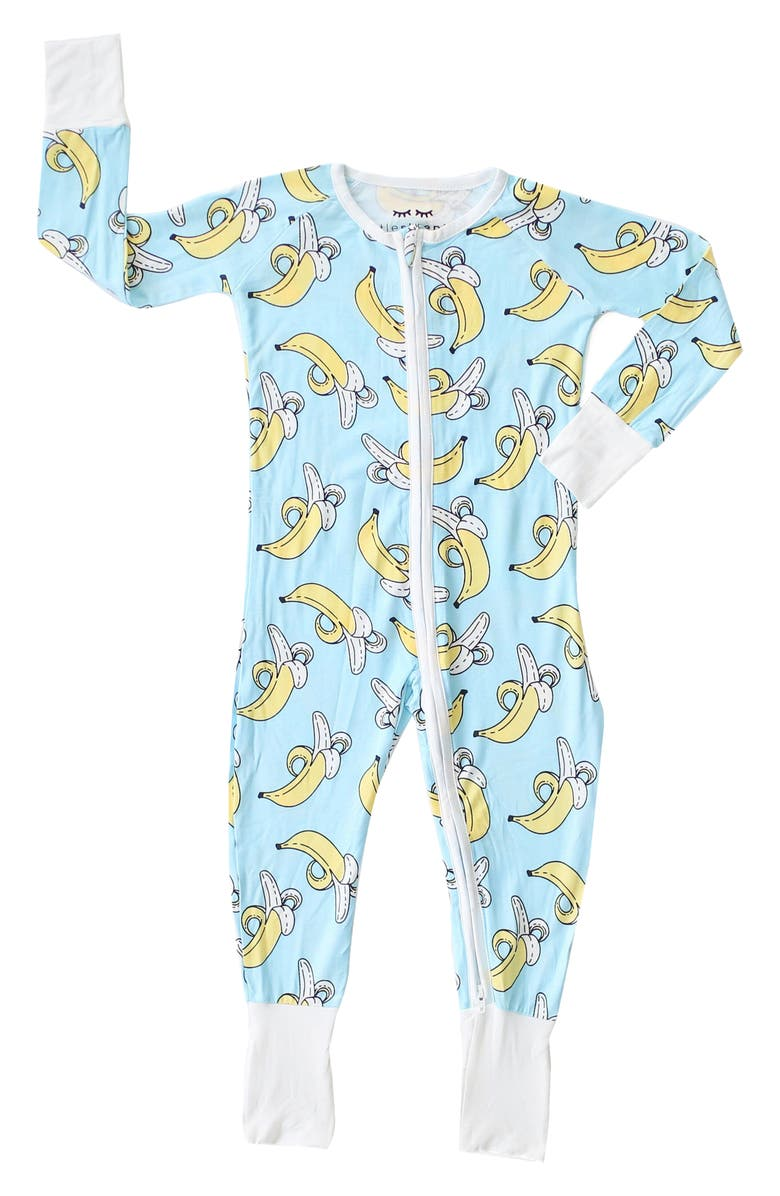 LITTLE SLEEPIES Bananas Fitted One-Piece Pajamas, Main, color, BANANAS