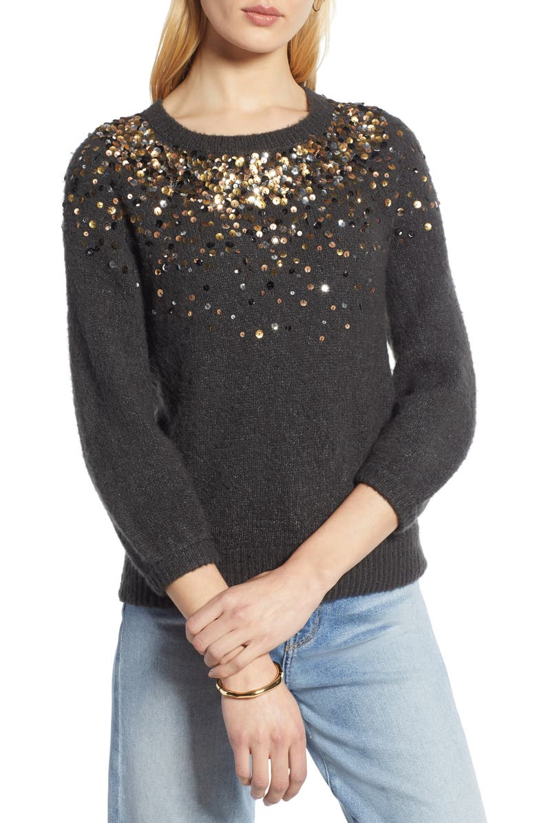 HALOGEN<SUP>®</SUP> Sequin Detail Sweater, Main, color, 021