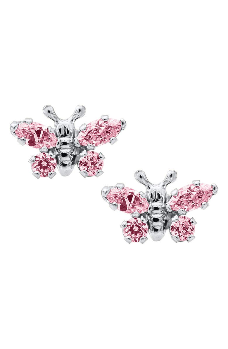 MIGNONETTE Butterfly Birthstone Sterling Silver Earrings, Main, color, OCTOBER