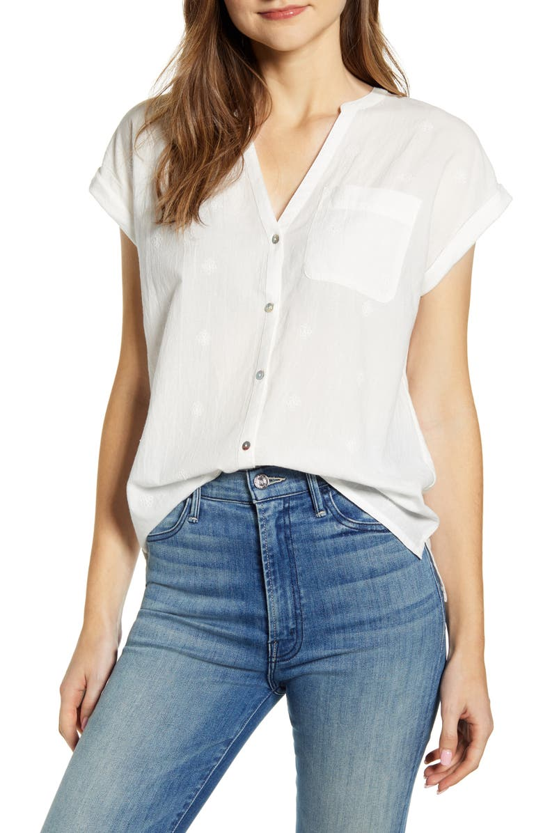 LUCKY BRAND Embroidered Mixed Media Top, Main, color, 110