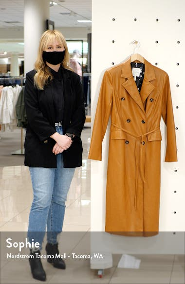 Double Breasted Faux Leather Trench Coat, sales video thumbnail