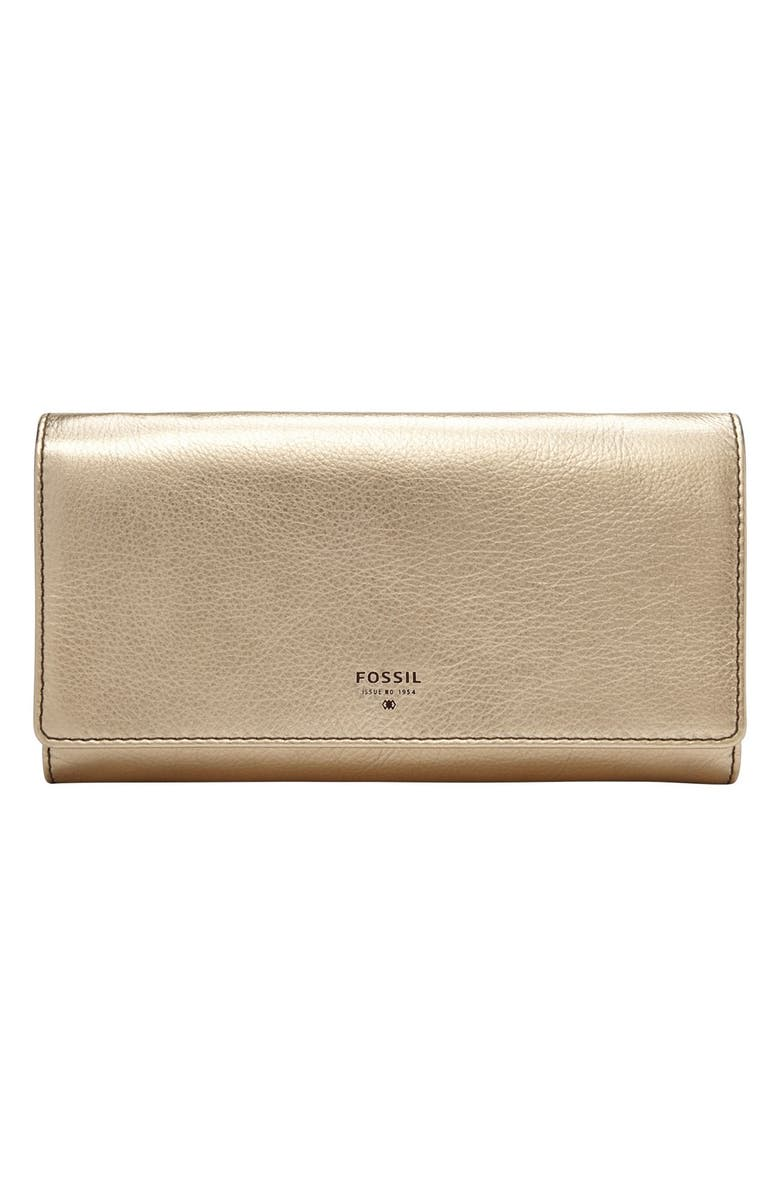 FOSSIL 'Sydney' Metallic Leather Flap Wallet, Main, color, METALLIC GOLD