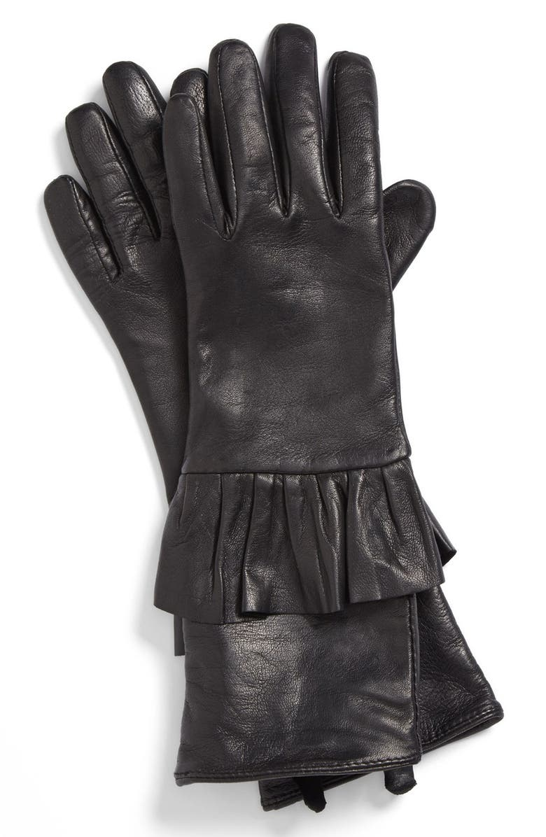 ECHO Peplum Leather Gloves, Main, color, 001