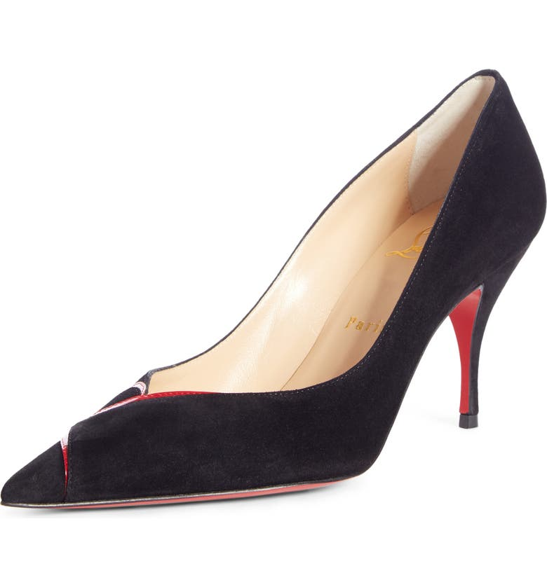 CHRISTIAN LOUBOUTIN CL Logo Pointed Toe Pump, Main, color, 002