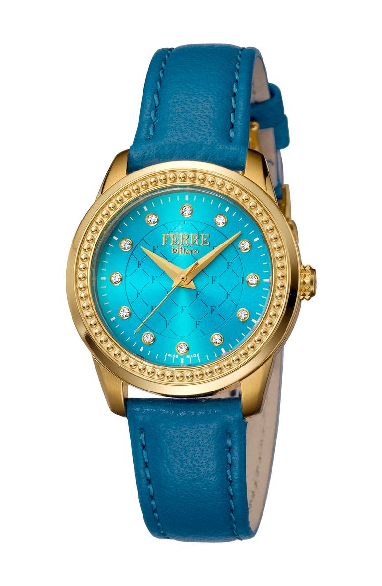 FERRE MILANO Women's Leather & Stainless Steel Watch, 32mm, Main, color, BLUE