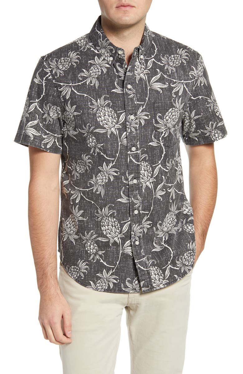 REYN SPOONER Aloha Welcome Tailored Fit Short Sleeve Button-Down Shirt, Main, color, BLACK ONYX