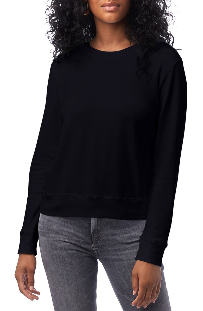 ALTERNATIVE Cotton Blend Interlock Sweatshirt, Main, color, BLACK