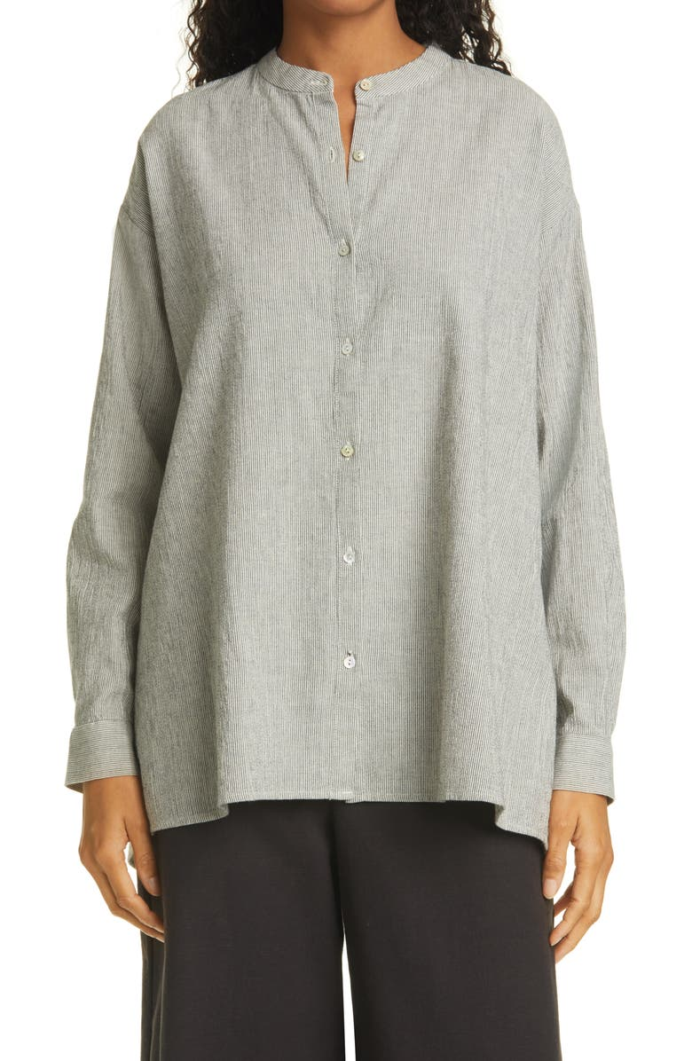 EILEEN FISHER Mandarin Collar Organic Cotton Blend Tunic Shirt, Main, color, BEIGE
