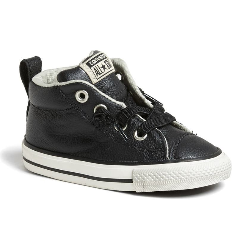 CONVERSE Chuck Taylor<sup>®</sup> All Star<sup>®</sup> 'CT AS Street' Leather Slip-On Sneaker, Main, color, 001