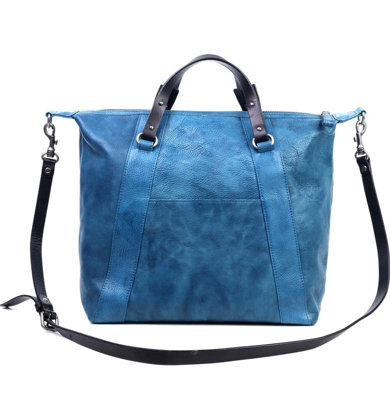 OLD TREND Mossy Creek Leather Tote Bag, Main, color, NAVY