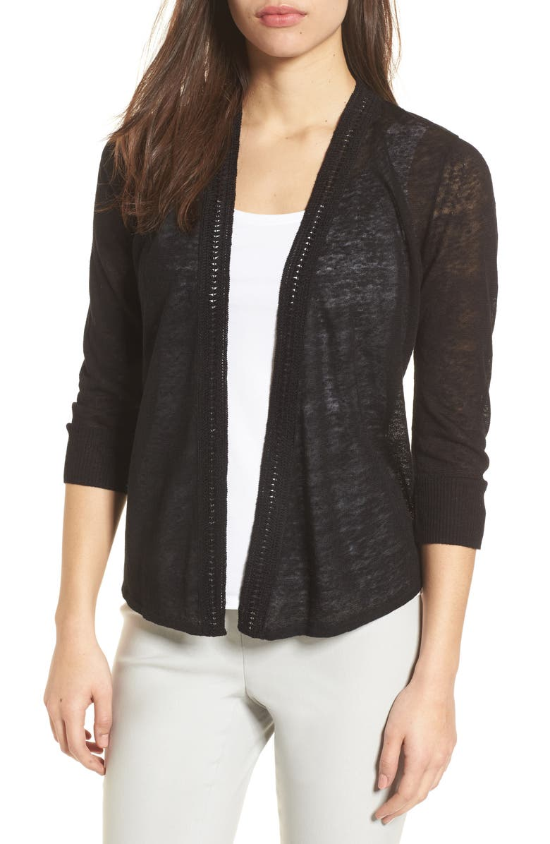 NIC+ZOE Crochet Trim Cardigan, Main, color, BLACK ONYX