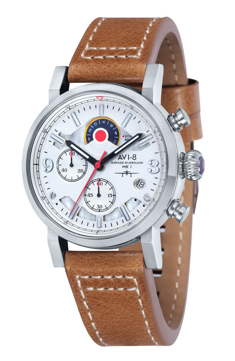 AVI-8 'Hawker Hurricane' Chronograph Leather Strap Watch, 42mm, Main, color, 100