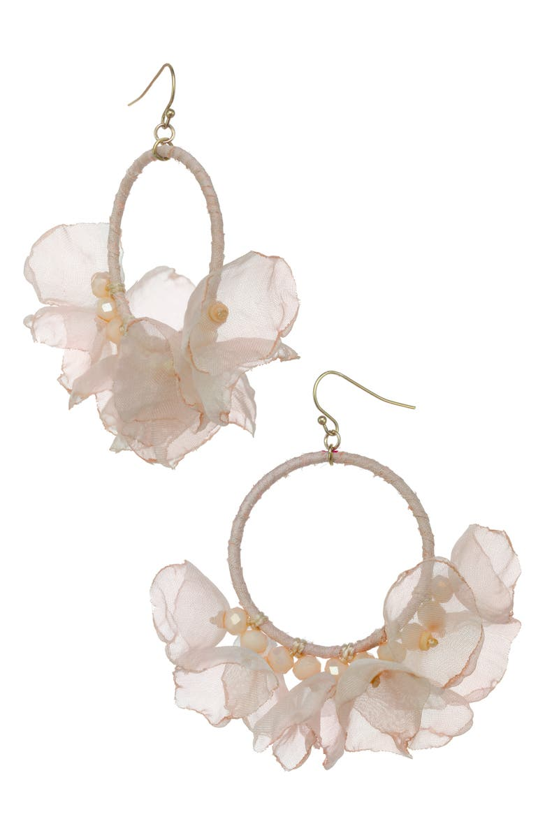 STELLA + RUBY Melody Chiffon Hoop Earrings, Main, color, GOLD-IVORY