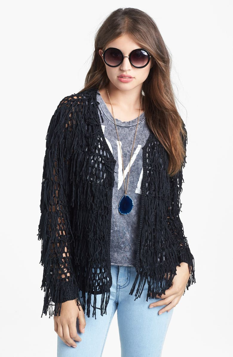 PAINTED THREADS Fringed Cardigan, Main, color, Black