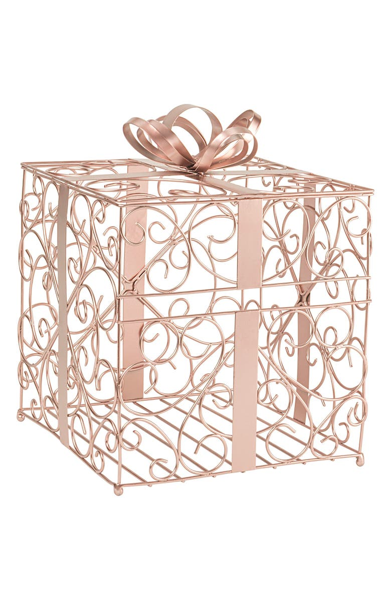 CATHY'S CONCEPTS Rose Goldtone Plate Card Holder, Main, color, ROSE GOLD