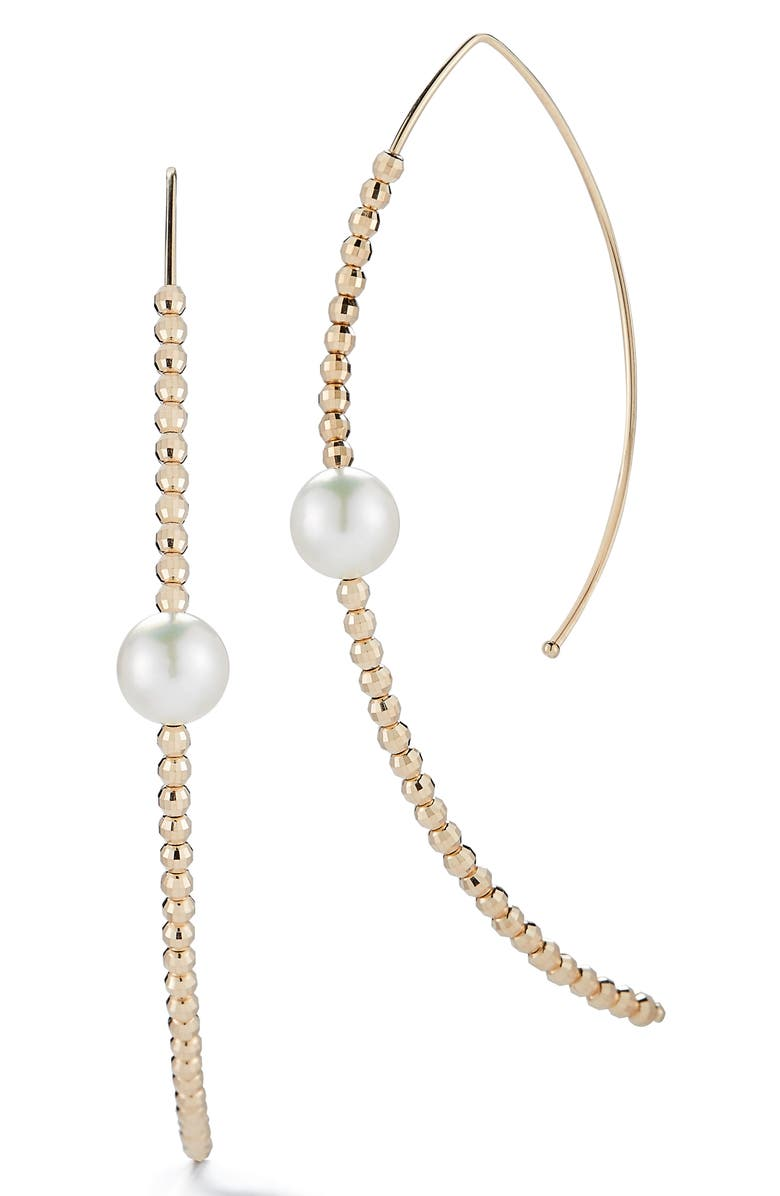 MIZUKI Gold Bead and Genuine Pearl Marquise Hoop Earrings, Main, color, YELLOW GOLD