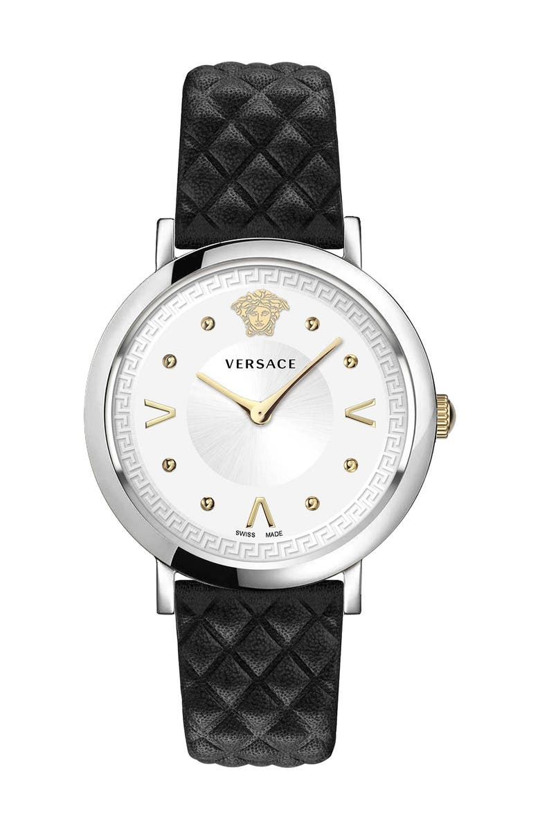 VERSACE Women's Pop Chic Lady Leather Strap Watch, 36mm, Main, color, TWO TONE