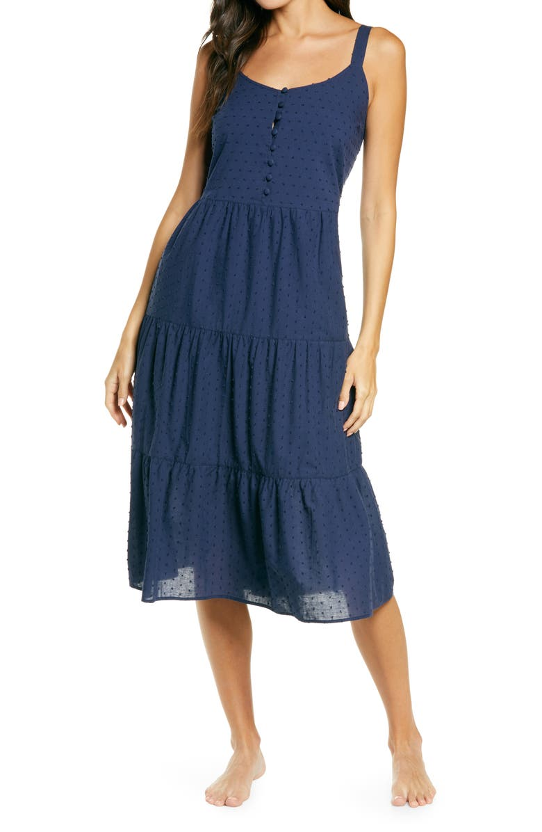 NORDSTROM Romantic Swiss Dot A-Line Nightgown, Main, color, NAVY PEACOAT