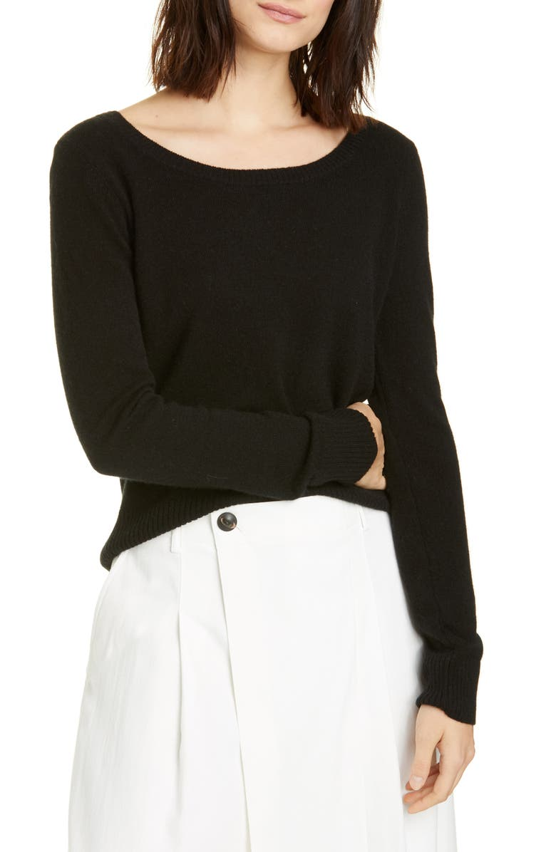 VINCE Ballet Neck Cashmere Sweater, Main, color, 001
