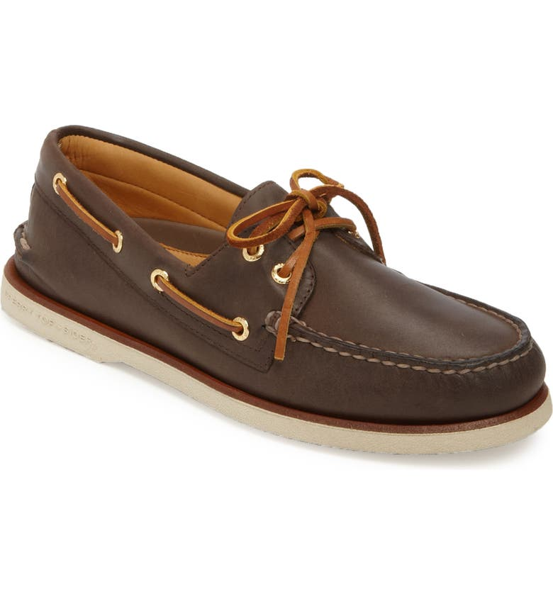 SPERRY KIDS Sperry 'Gold Cup - Authentic Original' Boat Shoe, Main, color, DARK BROWN LEATHER