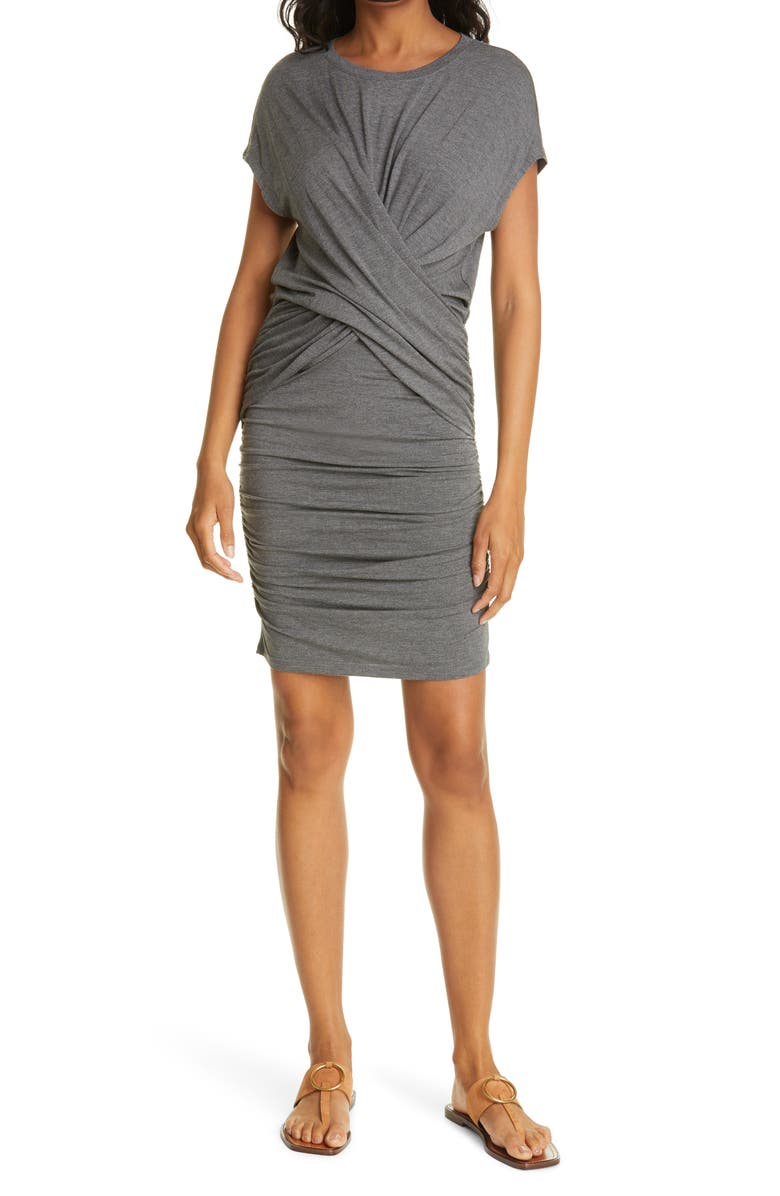 FRAME Ruched Crisscross Detail Dress, Main, color, CHARCOAL HEATHER