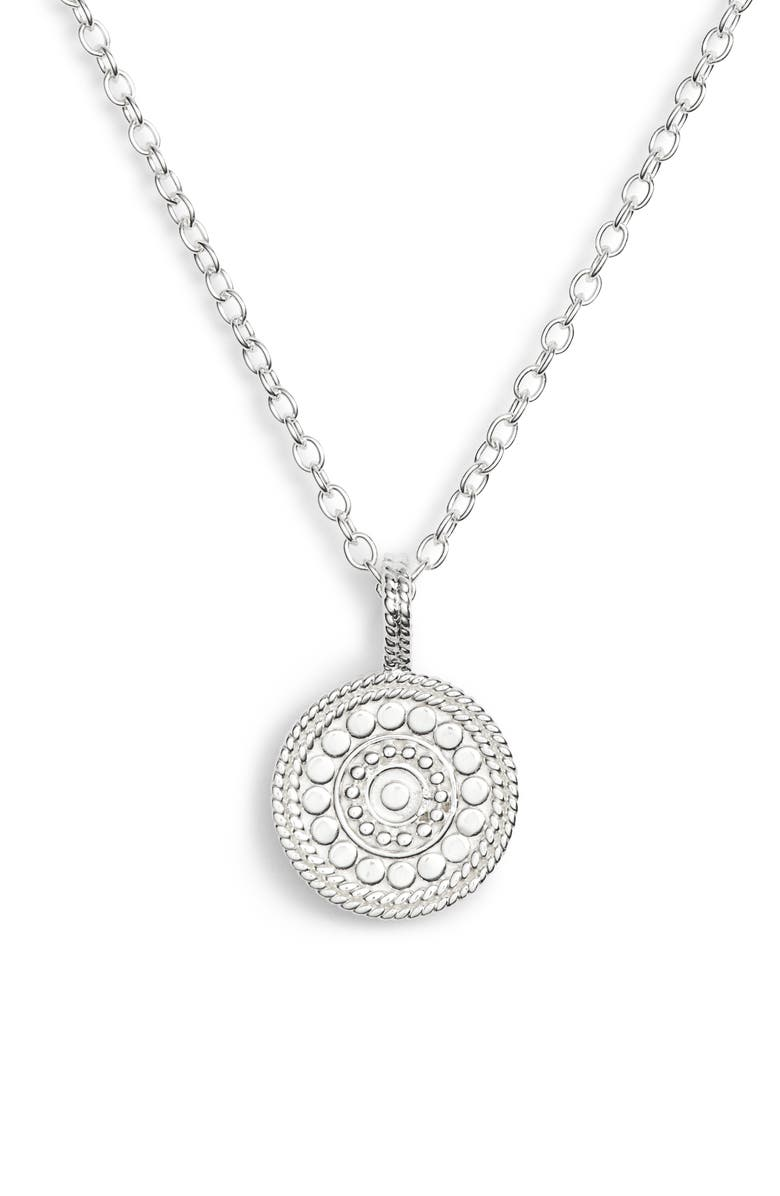 ANNA BECK Beaded Reversible Circle Pendant Necklace, Main, color, SILVER