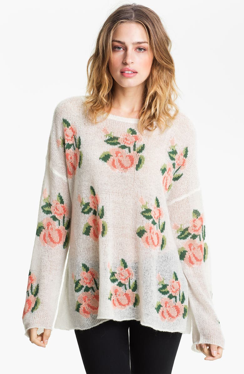 WILDFOX Rose Slouchy Sweater, Main, color, PRAIRIE ROSE