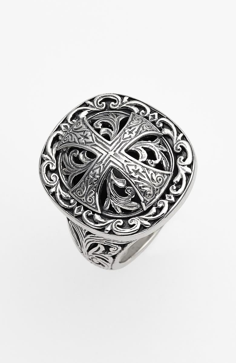 KONSTANTINO 'Classics' Cross Dome Ring, Main, color, Silver